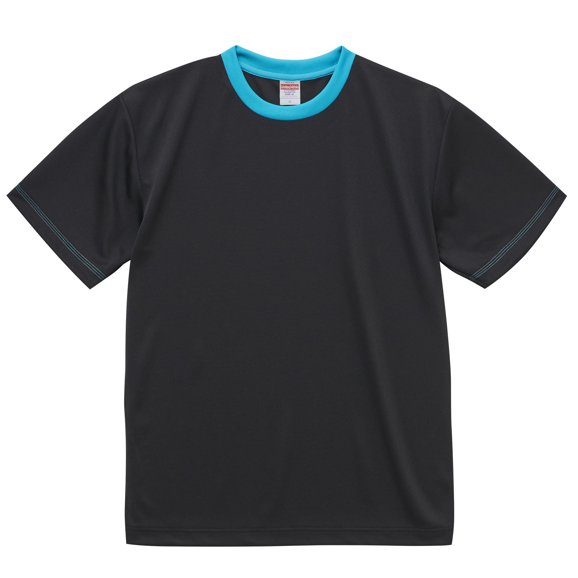 4.1オンスドライTシャツ(ブラック/ターコイズブル)