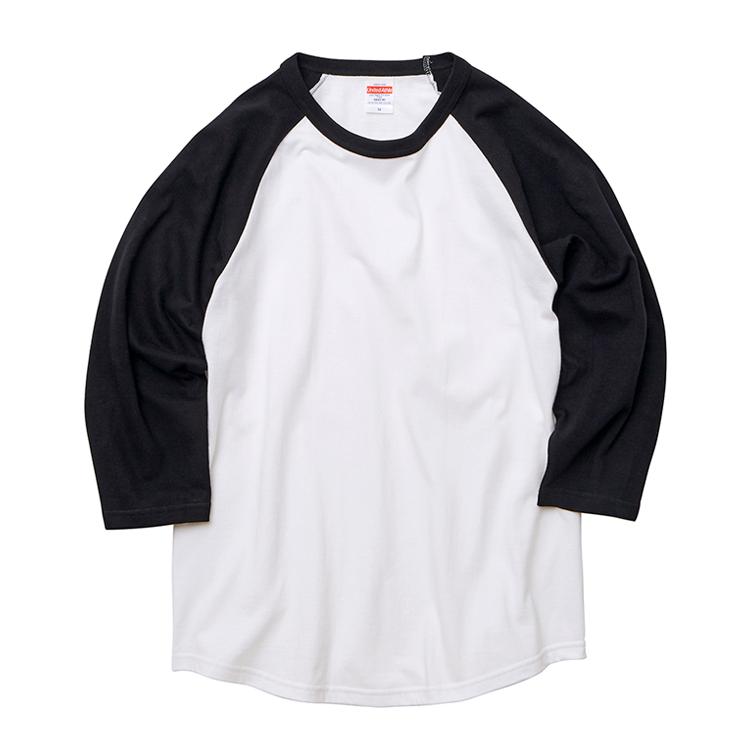 5.6オンスラグランTシャツ(ホワイト/ネイビー)