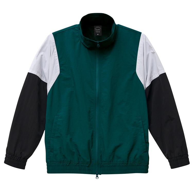 コットンライクなナイロン素材トラックジャケット(アンティークグリーン/ホワイト/ブラック)