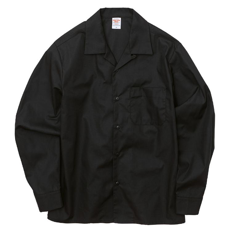 T/C生地のオープンカラーロングスリーブシャツ(ブラック)