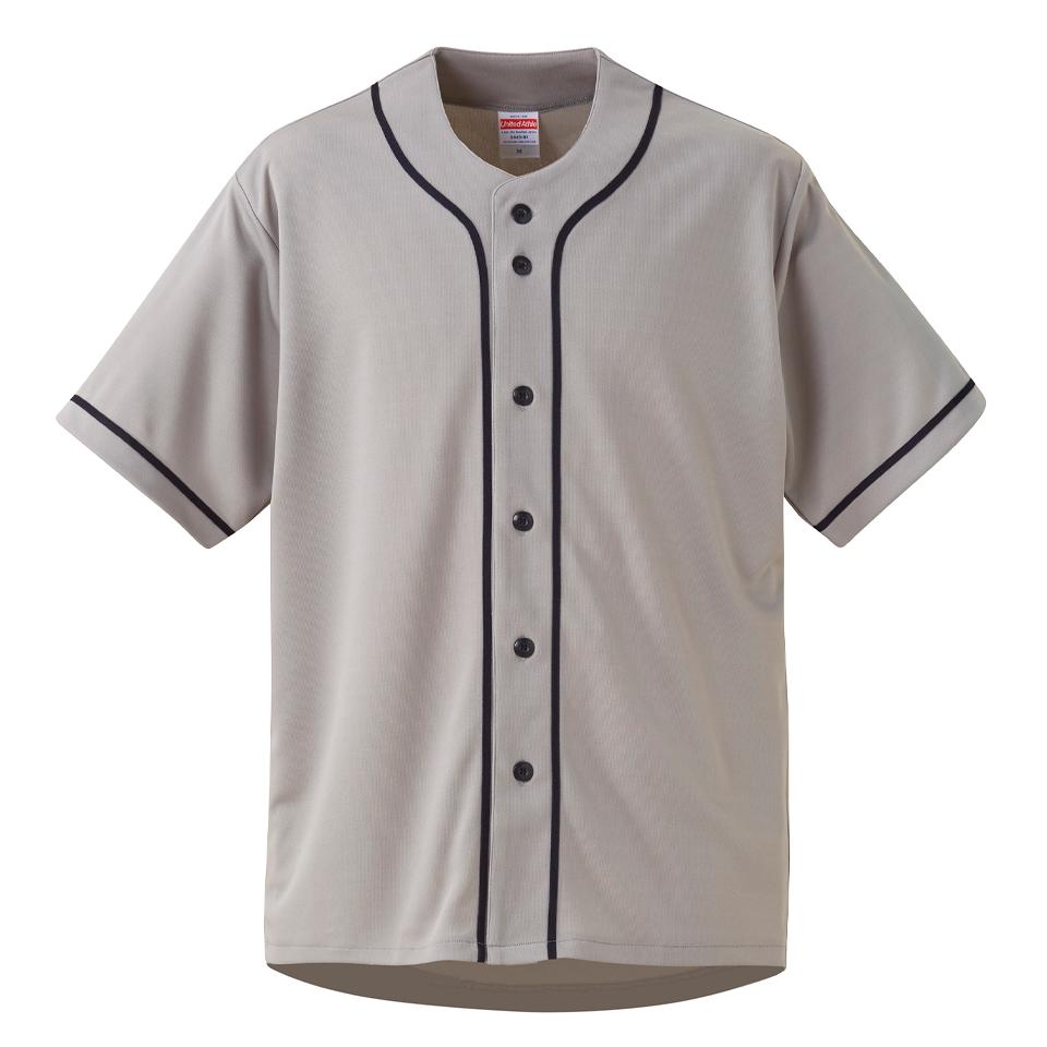 4.4オンスドライ素材のベースボールシャツ(グレー/ネイビー)
