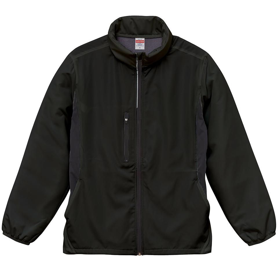 マイクロリップストップ素材のフードインジャケット(ブラック)