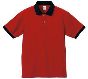 5.3オンスドライカノコのポロシャツ(レッド/ブラック)