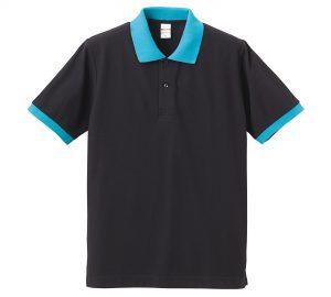 5.3オンスドライカノコのポロシャツ(ブラック/ターコイズブルー)