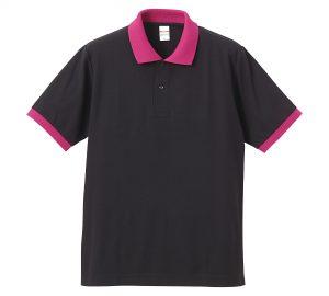 5.3オンスドライカノコのポロシャツ(ブラック/トロピカルピンク)