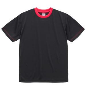 4.1オンスドライTシャツ(ブラック/トロピカルピンク)
