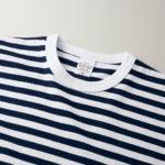 5.6オンスボーダーTシャツ(ネイビー/ホワイト 1.2cmピッチ)の襟元