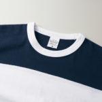 5.6オンスボーダーTシャツ(ネイビー/ホワイト 15.0cmピッチ)の襟元