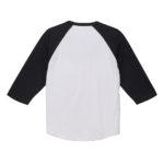 5.6オンスラグランTシャツ( ホワイト/ブラック)の背面