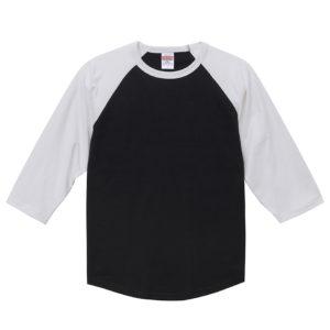 5.6オンスラグランTシャツ(ブラック/ホワイト)