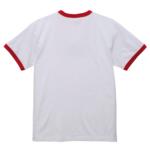 5.6オンスリンガーTシャツ(ホワイト/レッド)の背面