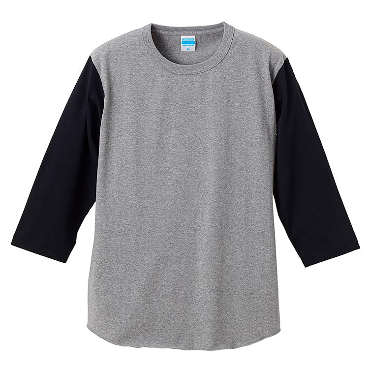 スーパーへヴィーウェイトのベースボールTシャツ(ミックスグレー/ブラック)
