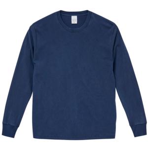 5.6オンスピグメントダイ染め加工のロングスリーブTシャツ(ヴィンテージネイビー)