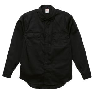 T/C生地のワークロングスリーブシャツ(ブラック)