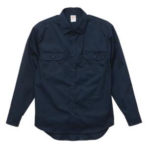 T/C生地のワークロングスリーブシャツ(ダークネイビー)