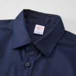 T/C生地のワークロングスリーブシャツ(ダークネイビー)の襟元の画像