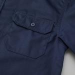 T/C生地のワークロングスリーブシャツ(ダークネイビー)のポケット画像