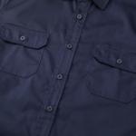T/C生地のワークロングスリーブシャツ(ダークネイビー)の胸元画像