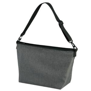 ポリエステル素材のショルダーバッグ(ヘザーチャコール)