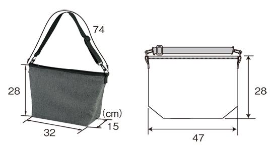 ポリエステル素材のショルダーバッグのサイズ表