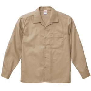 T/C生地のオープンカラーロングスリーブシャツ(モカベージュ )