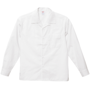 T/C生地のオープンカラーロングスリーブシャツ(オフホワイト)