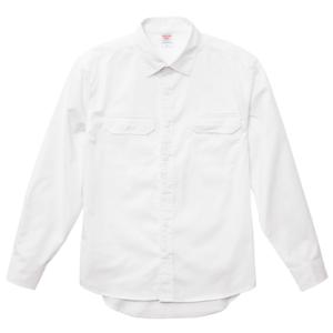 T/C生地のワークロングスリーブシャツ(オフホワイト)