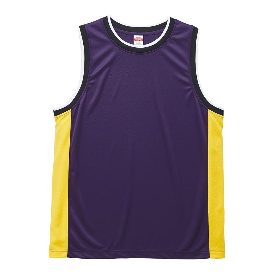 4.1オンスドライ素材のバスケットボールシャツ(パープル/カナリアイエロー)
