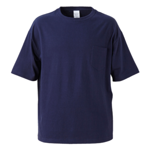 ポケット付のビッグシルエットTシャツの画像(ネイビー)