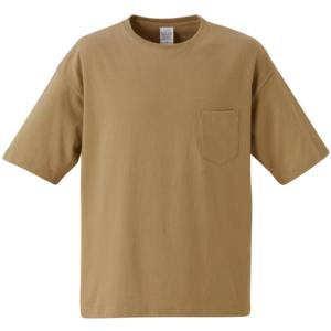 ポケット付のビッグシルエットTシャツの画像(サンドカーキ)