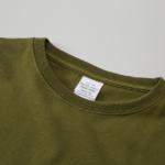 ポケット付のビッグシルエットTシャツの襟元画像(シティグリーン)