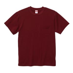 5.6オンスのハイクオリティーポケット付Tシャツ(バーガンディ)