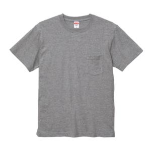 5.6オンスのハイクオリティーポケット付Tシャツ(ミックスグレー)