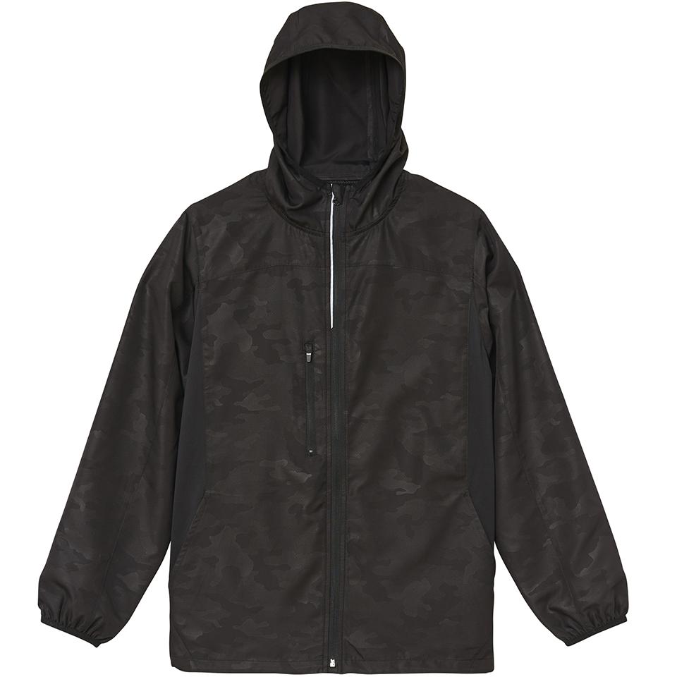 マイクロリップストップ素材のジップジャケット(ウッドランドブラック)