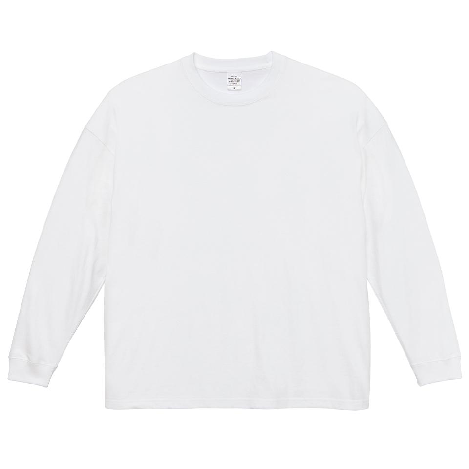 5.6オンス生地のビッグシルエットロングスリーブTシャツ(ホワイト)