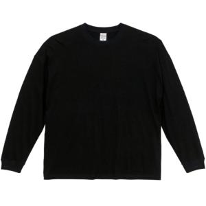 5.6オンス生地のビッグシルエットロングスリーブTシャツ(ブラック)